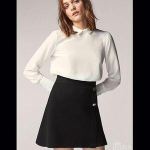 Massimo Dutti Black Wool Blend Mini Skirt M L Zara